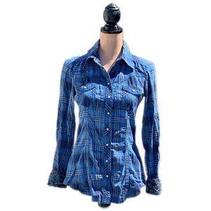 ☀️4/25 Esprit Plaid Contrast Sleeve Shirt